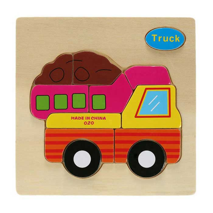 Truck Shaped Puzzle Wooden Blocks Cartoon Toy - Yellow