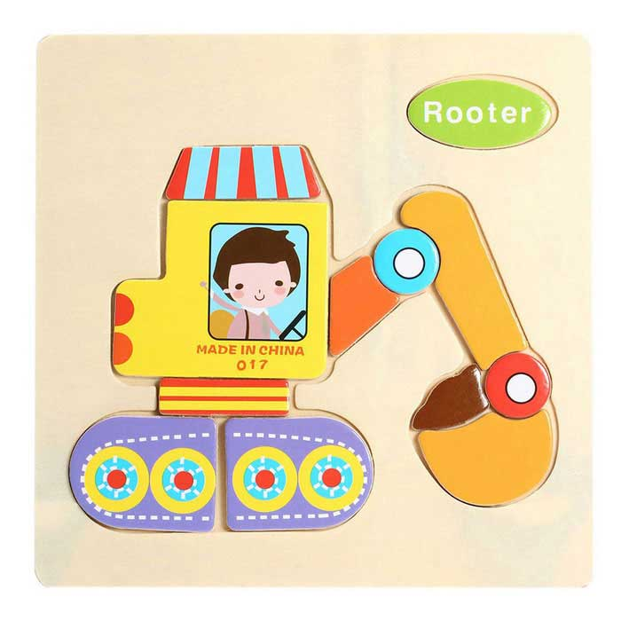 Rooter Shaped Puzzle Wooden Blocks Cartoon Toy - Yellow