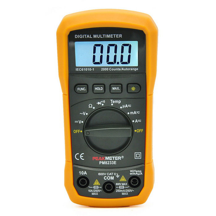 PEAKMETER PM8233E Auto Digital Multimeter w/ Temperature Test