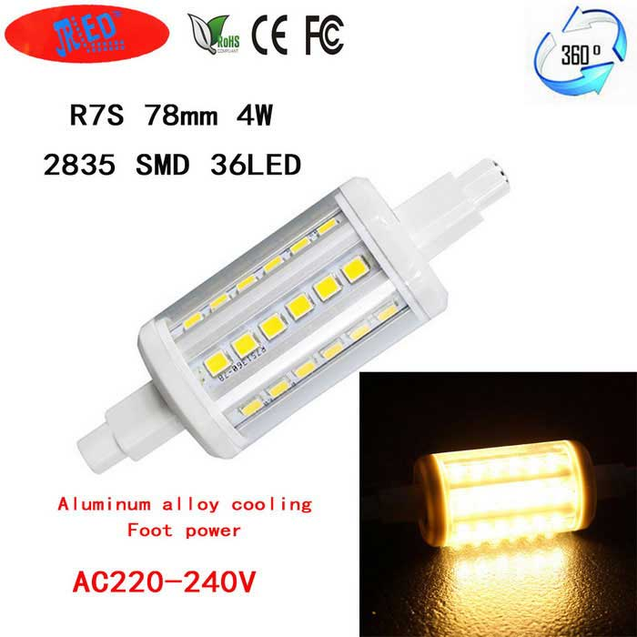 JRLED 360 Degree Beam Angle LED Corn Bulb Lamp Warm White LightColor BINWarm WhiteMaterialAluminum alloy + flame retardant PCForm  ColorWhite + Yellow + Multi-ColoredQuantity1 DX.PCM.Model.AttributeModel.UnitPower4WRated VoltageOthers,AC 220~240 DX.PCM.Model.AttributeModel.UnitConnector TypeOthers,R7SChip BrandEpistarChip Type2835 SMDEmitter TypeOthers,2835 SMDTotal Emitters36Theoretical Lumens500 DX.PCM.Model.AttributeModel.UnitActual Lumens400 DX.PCM.Model.AttributeModel.UnitColor Temperature3000KDimmableNoBeam Angle360 DX.PCM.Model.AttributeModel.UnitWavelengthN/ACertificationCE, RoHSOther FeaturesThis product uses 36 bright 2835 lamp power only do 4W, the quantity of heat is greatly reduced, and the internal cooling of the aluminum alloy, using long life, brightness is 1.5 times that of similar products brightness. Perfect alternative to the traditional ultra high energy consumption of solar tubes, cross inserted lights, double ended tube.Packing List1 * R7S horizontal insert lamp<br>