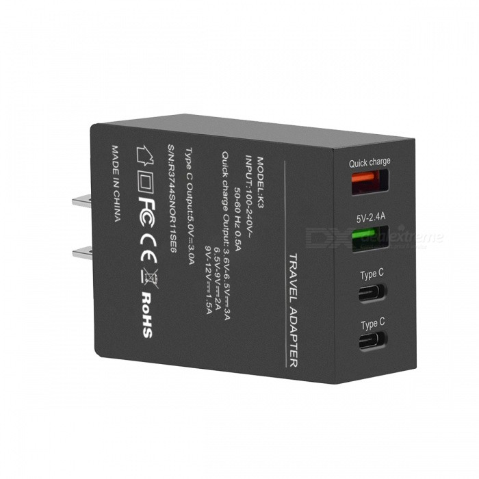 Itian K3 50W USB 3.1 Type C 4-Port Wall Charger w/ Quick Charge 3.0