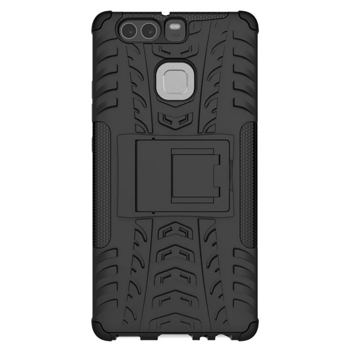 Shockproof Rubber Stand Combo Cover Case For Huawei Ascend P9 - BlackTPU Cases<br>Form ColorBlackModelHuawei Ascend P9MaterialOthers,TPU+PCQuantity1 DX.PCM.Model.AttributeModel.UnitShade Of ColorBlackCompatible ModelsHuawei Ascend P9Packing List1 * Case<br>