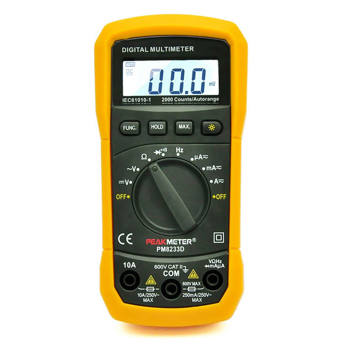 PEAKMETER PM8233D Auto / Manuell Digital Multimeter - Orange + Svart