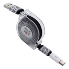 Retractable USB 2.0 to Type C + Micro USB Data Sync & Charging Cable
