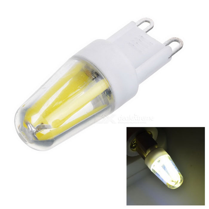 JRLED G9 Dimmable 4W 4-COB LED Cold White Light Bulb (AC 220V)G9<br>Color BINCool WhiteMaterialCeramic + PC + siliconeForm  ColorWhite + Yellow + Multi-ColoredQuantity1 DX.PCM.Model.AttributeModel.UnitPower4WRated VoltageAC 220 DX.PCM.Model.AttributeModel.UnitConnector TypeG9Chip Type-Emitter TypeCOBTotal Emitters4Theoretical Lumens300 DX.PCM.Model.AttributeModel.UnitActual Lumens180-290 DX.PCM.Model.AttributeModel.UnitColor Temperature12000K,Others,4800KDimmableYesBeam Angle360 DX.PCM.Model.AttributeModel.UnitCertificationCEPacking List1 * Bulb<br>