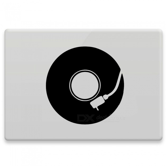 Hat-Prince Record Pattern Removable Skin Sticker for MacBook - Black
