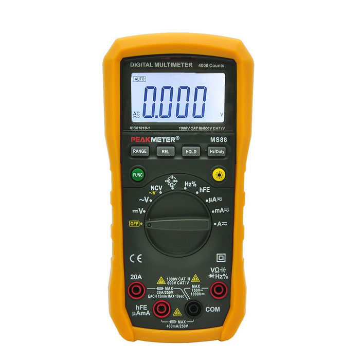 PEAKMETER MS88 Auto / Manual Digital Multimeter w/ NCV - OrangeMultimeters<br>Form  ColorOrange + Black + Multi-ColoredModelMS88Quantity1 DX.PCM.Model.AttributeModel.UnitMaterialABS + PVCScreen Size2.4 DX.PCM.Model.AttributeModel.UnitMax. Display3999DC Voltage400mV/4V/40V/400V±(0.5%+3) 1000V±(0.8%+5)AC Voltage400mV±(1.2%+20) 4V/40V/400V±(0.8%+3) 750V±(1.0%+5)DC Current400A/4000uA/40mA/400mA±(1.0%+5) 10A±(1.5%+8)AC Current400uA/4000uA/40mA/400mA±(1.5%+8) 10A±(2.0%+10)Resistance400ohm/4kohm/40kohm/400kohm/4Mohm±(1.0%+3) / 40Mohm±(1.2%+15)Capacitance Accuracy4nF/40nF/400nF/4F/40F/200F±(4.0%+15)Frequency Accuracy10Hz~10MHz±(1.5%+15)Transistor TestYesTemperature TestNoFrequency TestYesPower Consumption TestNoShort-Circuit ProtectionYesShort Curcuit BuzzYesAuto Power OffYesPowered ByOthers,9V 6F22Battery Number1Battery included or notNoCertificationCE, RoHS, REACHPacking List1 * PEAKMETER MS88 Digital Multimeter1 * 9V battery1 * Test cable (100cm)1 * English user manual1 * Test holder<br>