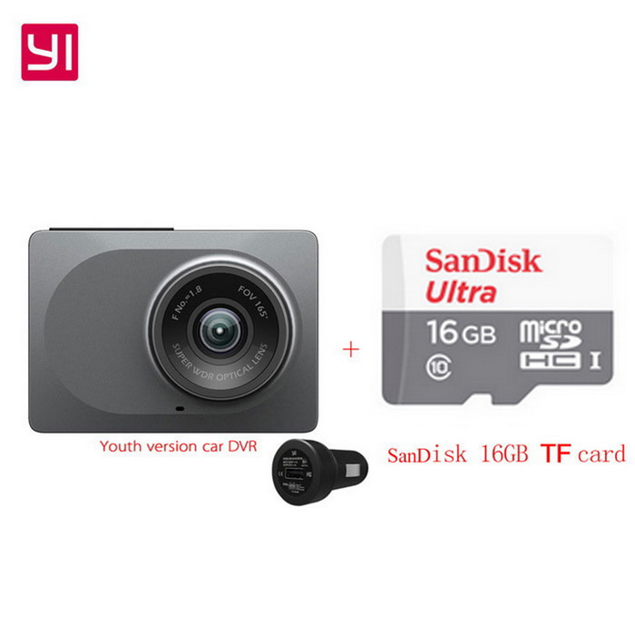 Xiaomi Yi ADAS Youth Version 2.7 1296P Car DVR Recorder + 16GB TFCar DVRs<br>Form  ColorGrey + Car DVR + 16GB TF cardModelYCS.1015.CNQuantity1 DX.PCM.Model.AttributeModel.UnitMaterialABSChipsetOthers,A12Screen SizeOthers,2.7Other FeaturesWi-Fi,Motion Detection,IR Night Vision,Loop Record,Others,(ADAS, emergency recording, crash sensor, sound recorder, high-precision 3-axis sensor, built-in speaker)Screen Resolution:1920 x 1080 DX.PCM.Model.AttributeModel.UnitCamera Pixel3-4.9MP DX.PCM.Model.AttributeModel.UnitVideo Resolution1920 x 1080,Others,(2304*1296) DPI DX.PCM.Model.AttributeModel.UnitWide Angle150°-169°Camera Lens1Image SensorCMOSImage Sensor SizeOthers,3.0*3.0m,4000mV/lux-sCamera Pixel3.0MPExternal Camera PixelNoWide AngleOthers,165°Screen TypeOthers,LEDScreen Size2.7 inchesWhite Balance ModeAutoVideo FormatMP4Decode FormatH.264Video OutputHDMIVideo Resolution1080FHD(1920 x 1080),1080P(1440 x 1080)Video Frame Rate30,60ImagesJPEG,JPGStill Image Resolution3M 2048x1536Audio SystemDual ChannelsMicrophoneYesAuto-Power OnYesIR Night VisionYesG-sensorYesDelay ShutdownYesTime StampYesBuilt-in Memory / RAMNoMax. CapacityOthers,64GBStorage ExpansionTFAV InterfaceOthers,-Data interfaceMini USBWorking Voltage   5 DX.PCM.Model.AttributeModel.UnitBattery Capacity240 DX.PCM.Model.AttributeModel.UnitWorking Time5 DX.PCM.Model.AttributeModel.UnitMenu LanguageChinese SimplifiedPacking List1 * Car DVR1 * Car charger1 * Stand1 * User Manual (Simplified Chinese)1 * 16GB TF card<br>