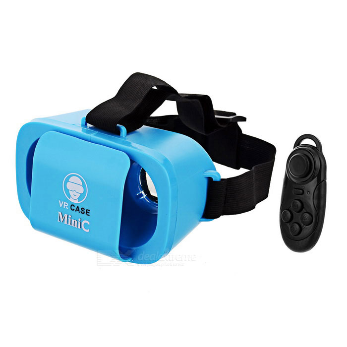 KICCY Mini Polarized Virtual Reality Lasit w / Kaukosäädin - Sininen