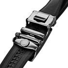Men's Split Leather Belt w/ Ray-Pattern Automatic Buckle - Black(1.2m)