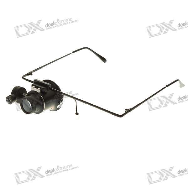 Eyewear Style Single 20X Magnifier with LED Light (2*CR1620)