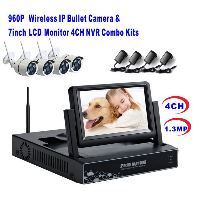 4CH Wireless NVR with 7Inch LCD Display a Combo Kits (US Plug)NVR Cards &amp; Systems<br>Form  ColorWhite + BlackPower AdapterUS PlugModelST-NVR6400NMWKITMaterialMetal + plasticQuantity1 DX.PCM.Model.AttributeModel.UnitSystem ResourcesMulti-channel real-time recording synchronously,Multi-channel real-time playback,USB back upOperating SystemLinuxRemote MonitoringNoPower AdaptorYesPower SupplyOthers,DC 12VMobile Phone PlatformAndroid,iOSWorking Temperature-20~50 DX.PCM.Model.AttributeModel.UnitWorking Humidity10--90Video StandardsH.264Decode FormatH.264Multi-mode Video Inputwireless /wireMotion DetectionYesAudio Compression FormatAACAudio Input4 channelsAudio  Output1 ChannelVideo Input4 channelsVideo Output4 channelsMonitor Quality1280*960Playback Quality1280*960Encode CapabilityH.264Decode CapabilityH.264Record ModeManual,Motion DetectionVideo SearchTime,Date,Channel SearchStorageNoVideo StorageLocal HDD,NetworkBack up ModeNetwork backup,USB portable,HDDUSBUSB 2.0HDD PortSATAForm  ColorWhite + BlackPower AdapterUS PlugPacking List1 * Wireless NVR4 * Wireless IP Cameras1 * NVR Plug Power adapter (100-240V US 105cm±2cm cable)4 * US Plug Power adapters (100~240V 112cm±2cm cable)1 * Mouse1 * Network cable (1m)1 * English users manual4 * Screws<br>