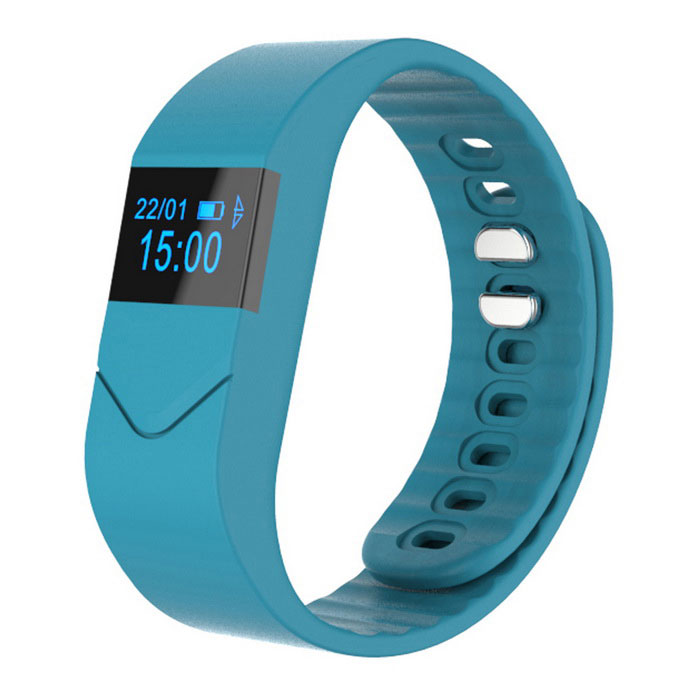Sport Bluetooth Smart Bracelet w/ Heart Rate Monitor - Light Blue