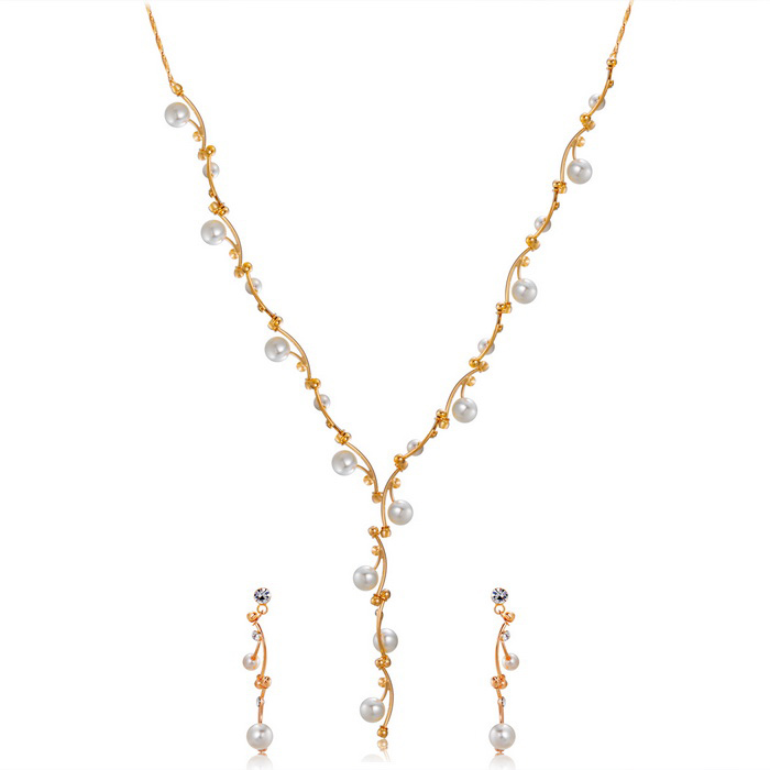 XinGuang Shell Beads Inlaid Simple Delicate Necklace + Earrings