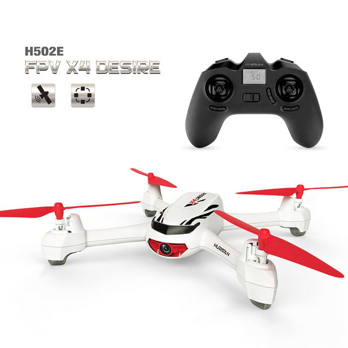 Hubsan X4 H502E 720P HD Camera GPS Altitude Mode RC Quadcopter - WhiteR/C Airplanes&amp;Quadcopters<br>Form  ColorWhiteModelH502EMaterialPlasticQuantity1 DX.PCM.Model.AttributeModel.UnitShade Of ColorWhiteGyroscopeYesChannels Quanlity4 DX.PCM.Model.AttributeModel.UnitFunctionUp,Down,Left,Right,Forward,BackwardRemote TypeRadio ControlRemote control frequency2.4GHzRemote Control Range200 DX.PCM.Model.AttributeModel.UnitSuitable Age 8-11 years,12-15 years,Grown upsCameraYesCamera PixelOthers,720PLamp YesBattery TypeLi-polymer batteryBattery Capacity610 DX.PCM.Model.AttributeModel.UnitCharging Time30~40 DX.PCM.Model.AttributeModel.UnitWorking Time10~12 DX.PCM.Model.AttributeModel.UnitRemote Controller Battery TypeAAARemote Controller Battery Number4Remote Control TypeIncluded,Others,4*AAA ( Not included)ModelMode 2 (Left Throttle Hand)Packing List1 * RC Quadcopter1 * Transmitter1 * 7.4V 610mAh Li-Po Battery4 * Spare Propellers1 * USB Cable (60cm)1 * Screwdriver1 * English Manual<br>