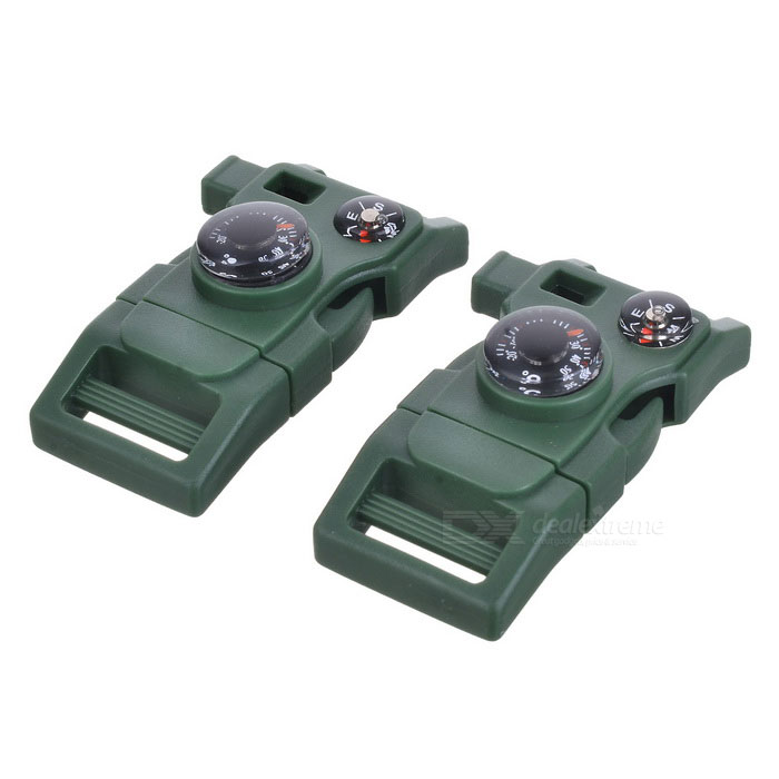 Survival Multifunctional Whistle w/ Thermometer - Army Green (2PCS)