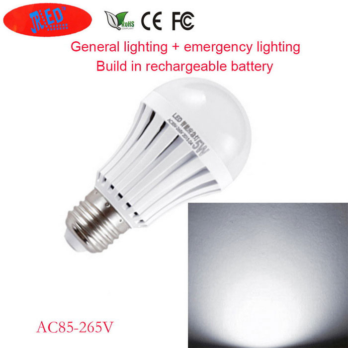 JRLED E27 5W Cold White Rechargeable Emergency Light Bulb (AC 85~265V)