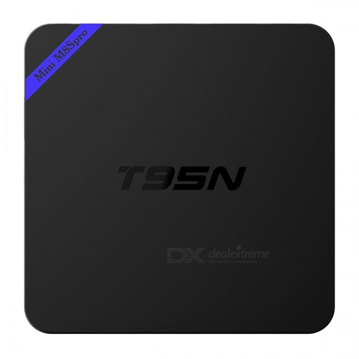 T95N-Mini M8Spro 4K S905X Quad-Core Android 6.0 Smart TV Box - US PlugssSmart TV Players<br>Form ColorBlackBuilt-in Memory / RAM2GBStorage8GBPower AdapterUS PlugsModelT95N-Mini M8SproQuantity1 DX.PCM.Model.AttributeModel.UnitMaterialPlasticShade Of ColorBlackOperating SystemAndroid 6.0ChipsetAmlogic S905XCPUOthers,Cortex-A53Processor FrequencyUp to 2GHzGPUPenta-core ARM Mali-450Menu LanguageEnglish,French,German,Italian,Spanish,Portuguese,Russian,Polish,Greek,Danish,Norwegian,Dutch,Arabic,Turkish,Japanese,Bahasa Indonesia,Korean,HungarianRAM/Memory TypeDDR3 SDRAMMax Extended Capacity32GBSupports Card TypeMicroSD (TF)External HDD2TBWi-Fi802.11 b/g/nBluetooth VersionNo3G FunctionNoWireless Keyboard/Mouse2.4GHzAudio FormatsMP3,WMA,APE,FLAC,OGG,AC3,DTS,AACVideo FormatsRM,RMVB,AVI,MKV,MOV,AVC,FLV,VOB,MPG,DAT,MPEG,H.264,MPEG1,MPEG2,MPEG4,WMV,H.265Audio CodecsDTS,AC3,LPCM,FLAC,HE-AACVideo CodecsMPEG-1,MPEG-2,MPEG-4,H.264,H.265Picture FormatsJPEG,BMP,PNG,GIF,TIFFSubtitle FormatsMicroDVD [.sub],SubRip [.srt],Sub Station Alpha [.ssa],Sami [.smi]idx+subPGSOutput Resolution1080P3DHardward 3D graphics accelerationHDMIHDMI 2.0Audio OutputHDMI, AVVideo OutputHDMIUSBUSB 2.0Other Interface2 * USB 2.0 / 1 * RJ45 (10M/100M) / 1 * HDMI 2.0 / 1 * TF card slot / 1 * DC Jack / 1 * AVPower SupplyINPUT: 100-240V OUTPUT: 5V 2ACompatible ApplicationFacebook,Youtube,SkypePacking List1 * Smart TV player 1 * Power with cable (90cm) 1 * HDMI cable (100cm) 1 * Remote control (2 * AAA batteries, not included) 1 * English user manual<br>