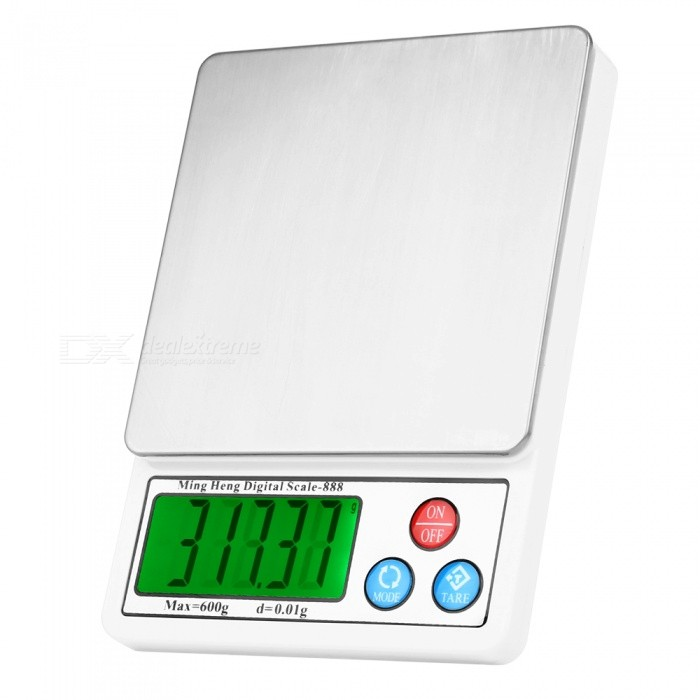 MH-888 600g / 0.01g 2.2 LCD Jewelry Precision Scales - WhiteDigital Scales<br>Form  ColorWhite + SilverModelMH-888Quantity1 DX.PCM.Model.AttributeModel.UnitMaterialStainless steel + ABS plasticTypeJewelry ScaleScreen Size2.2 inchesMax. Weight600gMin. Weight0.01gUnitg,kg,ct,lb,ozDivision0.01gOperating Temperature0-35°Auto Power OffNoPowered ByAAA BatteryBattery Number2Battery included or notNoPacking List1 * Electronic scales 1 * Pallets1 * Instructions in English<br>