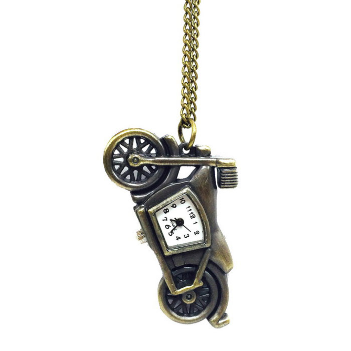 Buy Motorcycle Style Quartz Necklace Pocket Watch - Bronze with Litecoins with Free Shipping on Gipsybee.com