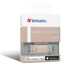 Verbatim 32 GB USB 3.0 Flash Drive for Apple Lightning Devices Gold
