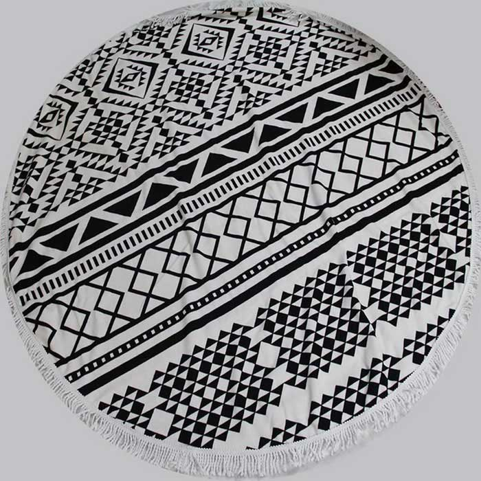 Buy Printing Polyester Beach Towel /  Yoga Mat - Black + White with Litecoins with Free Shipping on Gipsybee.com