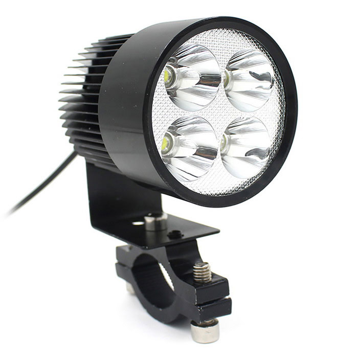 20W 12~80V Motorcycle Electrombile 4-LED Headlight - Black