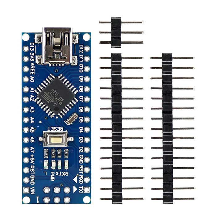 Mini USB Nano 3.0 Atmega328P Development Board Parts for ArduinoBoards &amp; Shields<br>Form ColorBlue + BlackModelN/AQuantity1 DX.PCM.Model.AttributeModel.UnitMaterialPCB+Alloy+PlasticEnglish Manual / SpecYesDownload Link   https://drive.google.com/folderview?id=0B6uNNXJ2z4Cxbmp3WVd3UnpvdnM&amp;usp=sharingPacking List1 * Board1 * 2x3P male pin header2 * 1x15P male pin header<br>