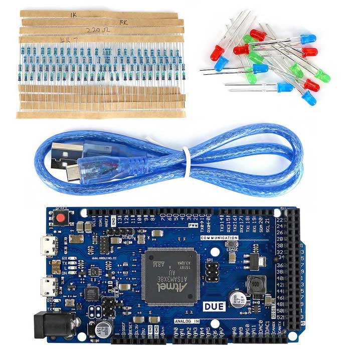 DUE R3 Development Board Kit w/ USB Cable / Resistor / LED for Arduino