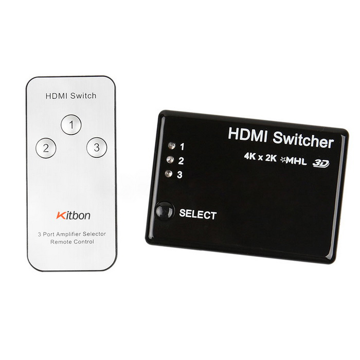 Kitbon 3-Port 3-i-1-out HDMI Switcher m / IR Remote Controller - Sort