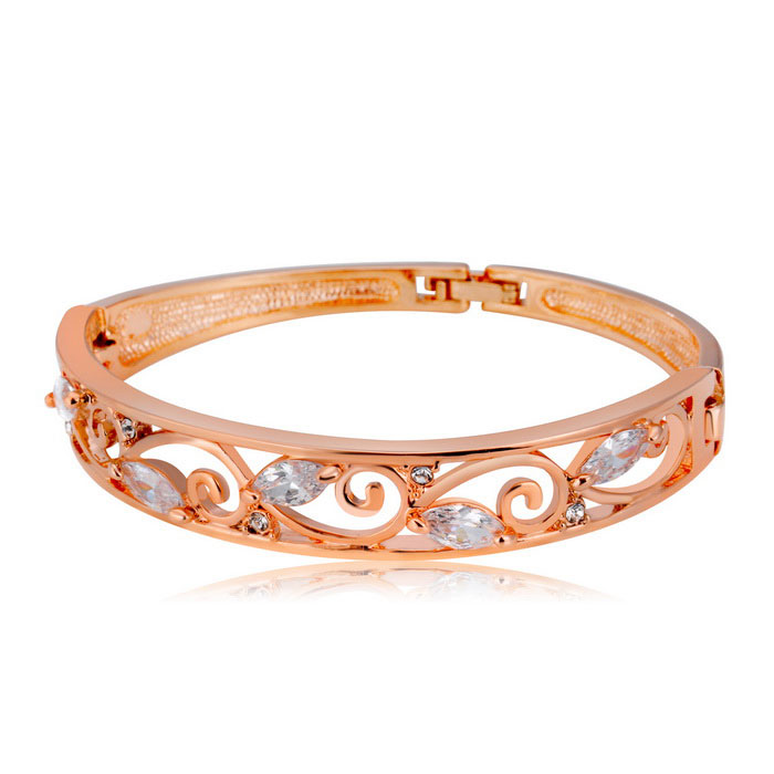 Xinguang Women's Hollow Out Crystal Decorated Bracelet - Rose Gold