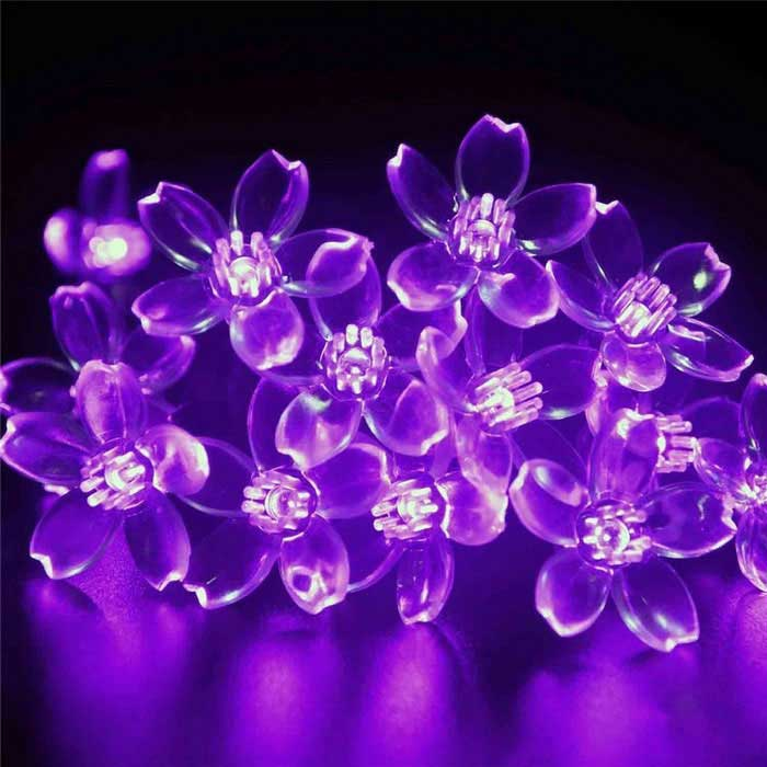 6W Purple Light 100-LED Flower Starry Light Strip (33ft / AC 100-240V)