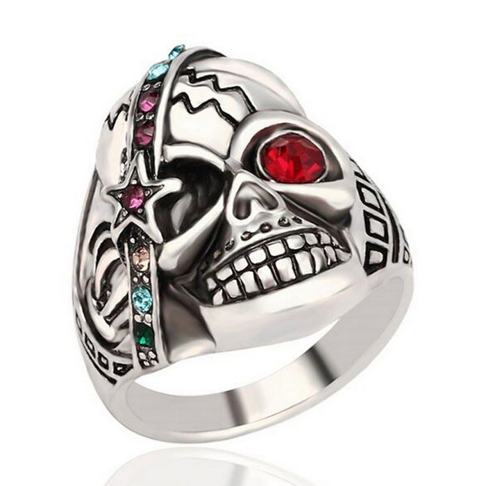Punk Style Skull Rhinestones Decorated Ring - Silver (US Size 10)