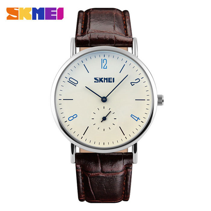 SKMEI 9120 Mens 50 Meters Waterproof Calendar Quartz Watch - CoffeeQuartz Watches<br>Form  ColorCoffee + White - MenQuantity1 DX.PCM.Model.AttributeModel.UnitShade Of ColorBrownCasing MaterialAlloyWristband MaterialCalendarSuitable forAdultsGenderMenStyleWrist WatchTypeFashion watchesDisplayAnalogMovementQuartzDisplay Format12 hour formatWater ResistantWater Resistant 5 ATM or 50 m. Suitable for swimming, white water rafting, non-snorkeling water related work, and fishing.Dial Diameter4 DX.PCM.Model.AttributeModel.UnitDial Thickness0.9 DX.PCM.Model.AttributeModel.UnitWristband Length25 DX.PCM.Model.AttributeModel.UnitBand Width2 DX.PCM.Model.AttributeModel.UnitBatterySR626SW*1Packing List1 * Watch<br>