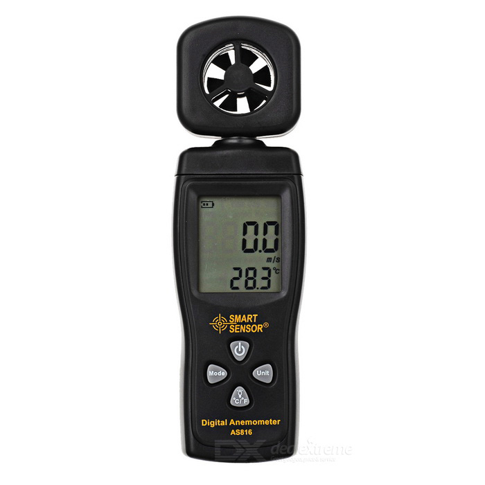Smart Sensor AS816 Digital Wind Speed Meter AnemometerTesters &amp; Detectors<br>Form  ColorBlackModelAS816Quantity1 DX.PCM.Model.AttributeModel.UnitMaterialABSScreen Size1.75 DX.PCM.Model.AttributeModel.UnitPowered ByAAA BatteryBattery Number3Battery included or notNoOther Features1.75 LCD; Wind Speed range: 0.3~30m/s; Wind Temperature range: 0~50C(32~122F); Current / MAX/Average: wind speed reading; Wind Speed unit: m/s,Km/h,ft/min,Knots,mph; Temperature display in C / F.Packing List1 * Anemometer<br>