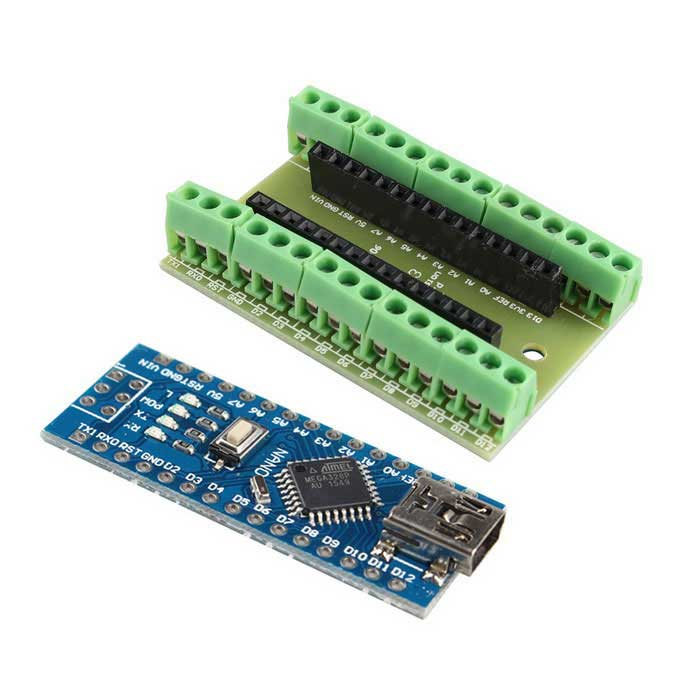 Buy Nano V3.0 Atmel Atmega328P Mini-USB Board + IO Shield Expansion Board with Litecoins with Free Shipping on Gipsybee.com