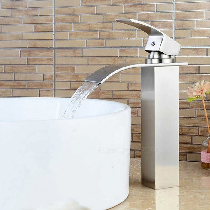 Stylish Heightening Nickel Brushed Waterfall Bathroom Sink FaucetBath Faucets<br>Form  ColorAntique SilveryModelF-0760MaterialBrass + zinc alloyQuantity1 DX.PCM.Model.AttributeModel.UnitFinishBrushedFaucet Spout MaterialStainless SteelFaucet Body MaterialBrassFaucet Handle MaterialZinc AlloyStyleContemporaryOther Features- Installation type:Centerset,  <br>- With single hole,  <br>- one switch and ceramic valve;  <br>- Support cold / hot water switch;  <br>- Standard 1/2 thread; <br>- Water outlet length: 13cm; <br>- Water outlet height: 19.5cm.Packing List1 * Faucet2 * Hoses (50cm)<br>