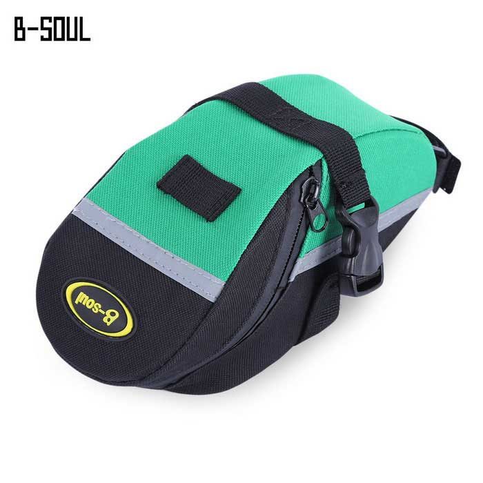 B-SOUL Cycling Mountain Bike Tail Saddle Bag - Green + BlackBike Bags<br>Form  ColorBlack + GreenQuantity1 DX.PCM.Model.AttributeModel.UnitMaterialNylonTypeSaddle BagsCapacity1 DX.PCM.Model.AttributeModel.UnitWaterproofNoGenderUnisexBest UseCycling,Mountain Cycling,Recreational Cycling,Road Cycling,Bike commuting &amp; touringCertificationCEPacking List1 x Bicycle Bag<br>