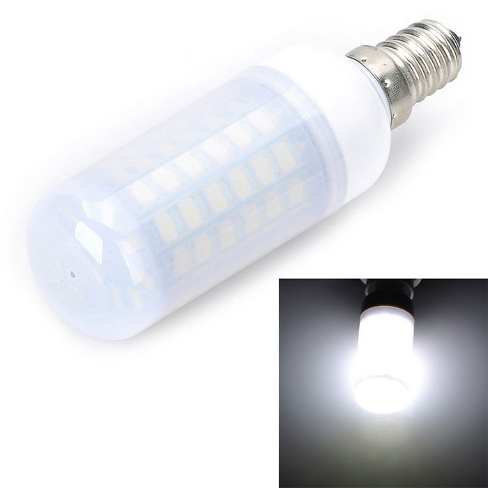 E14 5W 500lm 69-5730 SMD LED Cold White Light Corn LampE14<br>Color BINCold WhiteMaterialaluminumForm  ColorWhite + Yellow + Multi-ColoredQuantity1 DX.PCM.Model.AttributeModel.UnitPower5WRated VoltageAC 220-240 DX.PCM.Model.AttributeModel.UnitConnector TypeE14Chip BrandHugaEmitter TypeOthers,5730SMDTotal Emitters69Actual Lumens400-500 DX.PCM.Model.AttributeModel.UnitColor Temperature12000K,Others,6000~6500KDimmableNoBeam Angle360 DX.PCM.Model.AttributeModel.UnitCertificationCE, RoHSPacking List1 * LED Bulb<br>
