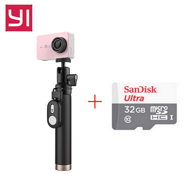 Xiaomi Yi II Wi-Fi 4K 2.19 Sports Camera Set + 32GB TF CN VersionSport Cameras<br>Form  ColorRose Gold(Travel Kit&amp;Remote)+32GB class10 TF cardModelYAS.1616.CNShade Of ColorPinkMaterialABSQuantity1 DX.PCM.Model.AttributeModel.UnitImage SensorCMOSImage Sensor SizeOthers,IMX377Anti-ShakeYesFocal Distance2.68 DX.PCM.Model.AttributeModel.UnitFocusing RangeF = 2.68mmAperture2.8Wide Angle155Effective Pixels4KImagesJPEGStill Image Resolution12MPVideoMP4,Others,H.264Video Resolution4KVideo Frame Rate30Cycle RecordNoISONoExposure CompensationNoSupports Card TypeTFSupports Max. Capacity64 DX.PCM.Model.AttributeModel.UnitBuilt-in Memory / RAMNoInput InterfaceMicOutput InterfaceMicro USBLCD ScreenYesScreen TypeTFTScreen Size2.19 DX.PCM.Model.AttributeModel.UnitScreen Resolution169Battery Measured Capacity 1400 DX.PCM.Model.AttributeModel.UnitNominal Capacity1430 DX.PCM.Model.AttributeModel.UnitBattery included or notYesBattery Quantity1 DX.PCM.Model.AttributeModel.UnitSupported LanguagesSimplified ChinesePacking List1 * Xiaomi Yi II 4K Action camera1 * Bluetooth remote control1 * Selfie monopod (71cm)1 * Battery 1 * Data cable (20cm)1 * Chinese use manual1*32GB TF cardCLASS10<br>