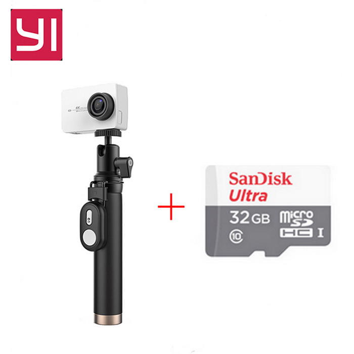 Xiaomi Yi II Wi-Fi 4K 2.19 Sports Camera Set + 32GB TF CN VersionSport Cameras<br>Form  ColorWhite(Travel Kit&amp;Remote)+32GB class10 TF cardModelYAS.1616.CNShade Of ColorWhiteMaterialABSQuantity1 DX.PCM.Model.AttributeModel.UnitImage SensorCMOSImage Sensor SizeOthers,IMX377Anti-ShakeYesFocal Distance2.68 DX.PCM.Model.AttributeModel.UnitFocusing RangeF = 2.68mmAperture2.8Wide Angle155Effective Pixels4KImagesJPEGStill Image Resolution12MPVideoMP4,Others,H.264Video Resolution4KVideo Frame Rate30Cycle RecordNoISONoExposure CompensationNoSupports Card TypeTFSupports Max. Capacity64 DX.PCM.Model.AttributeModel.UnitBuilt-in Memory / RAMNoInput InterfaceMicOutput InterfaceMicro USBLCD ScreenYesScreen TypeTFTScreen Size2.19 DX.PCM.Model.AttributeModel.UnitScreen Resolution16:9Battery Measured Capacity 1400 DX.PCM.Model.AttributeModel.UnitNominal Capacity1430 DX.PCM.Model.AttributeModel.UnitBattery included or notYesBattery Quantity1 DX.PCM.Model.AttributeModel.UnitSupported LanguagesSimplified ChinesePacking List1 * Xiaomi Yi II 4K Action camera1 * Bluetooth remote control1 * Selfie monopod (71cm)1 * Battery 1 * Data cable (20CM)1 * Chinese use manual1*32GB TF card<br>