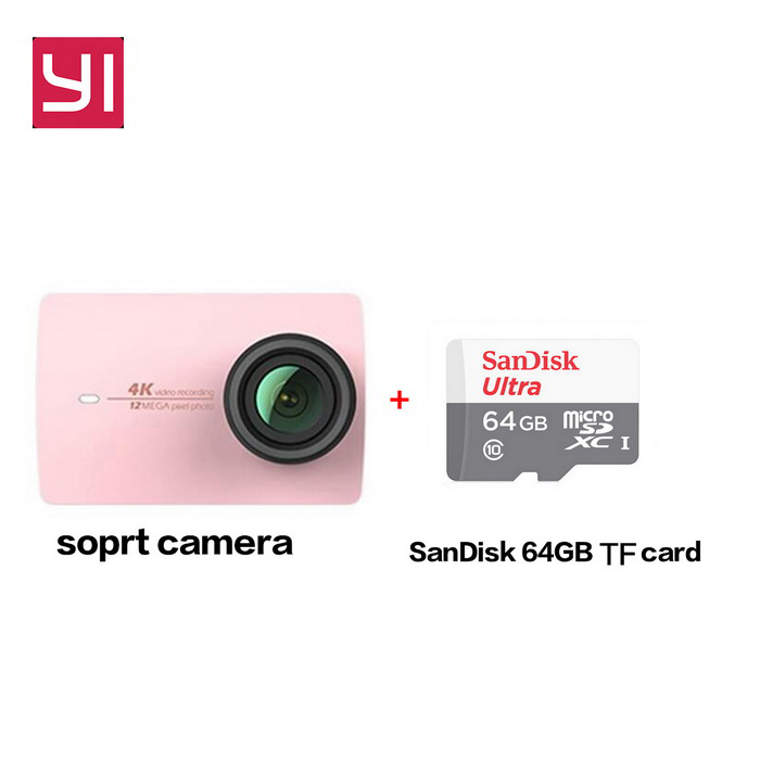 Xiaomi Yi II Wi-Fi 4K 2.19 Touch Sports Camera 2 + 64GB TF CN VersionSport Cameras<br>Form  ColorRose Gold+64GB class10 TF cardShade Of ColorPinkMaterialABSQuantity1 DX.PCM.Model.AttributeModel.UnitImage SensorCMOSImage Sensor SizeOthers,IMX377Anti-ShakeYesFocal Distance2.68 DX.PCM.Model.AttributeModel.UnitFocusing RangeF = 2.68mmAperture2.8Wide Angle155Effective Pixels4KImagesJPEGStill Image Resolution12MPVideoMP4,Others,H.264Video Resolution4KVideo Frame Rate30Cycle RecordNoISONoExposure CompensationNoSupports Card TypeTFSupports Max. Capacity64 DX.PCM.Model.AttributeModel.UnitBuilt-in Memory / RAMNoInput InterfaceMicOutput InterfaceMicro USBLCD ScreenYesScreen TypeTFTScreen Size2.19 DX.PCM.Model.AttributeModel.UnitScreen Resolution169Battery Measured Capacity 1300 DX.PCM.Model.AttributeModel.UnitNominal Capacity1400 DX.PCM.Model.AttributeModel.UnitBattery TypeLi-ion batteryBattery included or notYesBattery Quantity1 DX.PCM.Model.AttributeModel.UnitSupported LanguagesSimplified ChinesePacking List1 * Xiaomi Yi II 4K Action camera1 * Battery 1 * Data cable (20CM)1 * User manual(Chinese)1 * 64GB TF card<br>