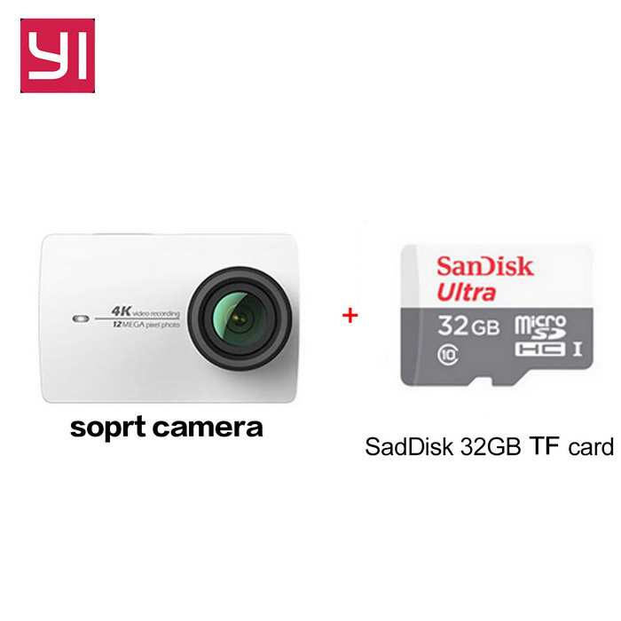 Xiaomi Yi II Wi-Fi 4K 2.19 Touch Sports Camera 2 + 32GB TF CN VersionSport Cameras<br>Form  ColorWhite+32GB class10 TF cardShade Of ColorWhiteMaterialABSQuantity1 DX.PCM.Model.AttributeModel.UnitImage SensorCMOSImage Sensor SizeOthers,IMX377Anti-ShakeYesFocal Distance2.68 DX.PCM.Model.AttributeModel.UnitFocusing RangeF = 2.68mmAperture2.8Wide Angle155Effective Pixels4KImagesJPEGStill Image Resolution12MPVideoMP4,Others,H.264Video Resolution4KVideo Frame Rate30Cycle RecordNoISONoExposure CompensationNoSupports Card TypeTFSupports Max. Capacity64 DX.PCM.Model.AttributeModel.UnitBuilt-in Memory / RAMNoInput InterfaceMicOutput InterfaceMicro USBLCD ScreenYesScreen TypeTFTScreen Size2.19 DX.PCM.Model.AttributeModel.UnitScreen Resolution169Battery Measured Capacity 1300 DX.PCM.Model.AttributeModel.UnitNominal Capacity1400 DX.PCM.Model.AttributeModel.UnitBattery included or notYesBattery Quantity1 DX.PCM.Model.AttributeModel.UnitSupported LanguagesSimplified ChinesePacking List1 * Xiaomi Yi II 4K Action camera1 * Battery 1 * Data cable (20CM)1 * User manual(Chinese)1 * 32GB TF card<br>