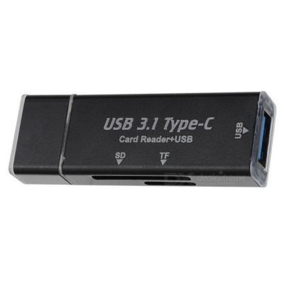 Mini USB 3.0 Type-C OTG SD / TF Card Reader - Black