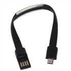 Universal Micro USB 2.0 rannerengas Flat Data Charging Cable - Musta