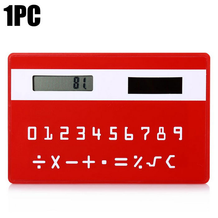 Solar Powered 1.0 LCD 8-Digit Ultra-Thin Pocket Card Calculator - RedCalculators<br>Form  ColorRedMaterialABSQuantity1 DX.PCM.Model.AttributeModel.UnitDigits8Screen Size2.5 DX.PCM.Model.AttributeModel.UnitBattery included or notYesBattery TypeSolarBattery Number1Packing List1 * Solar calculator<br>