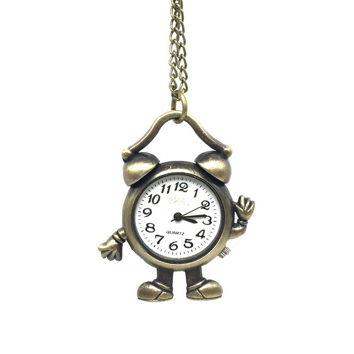 Buy Alarm Clock Style Alloy Quartz Necklace Pocket Watch - Bronze with Litecoins with Free Shipping on Gipsybee.com