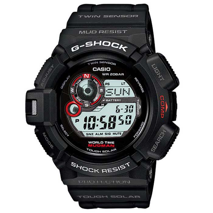 Casio G-Shock G-9300-1 Tough Solar Mens Watch - Black + Red
