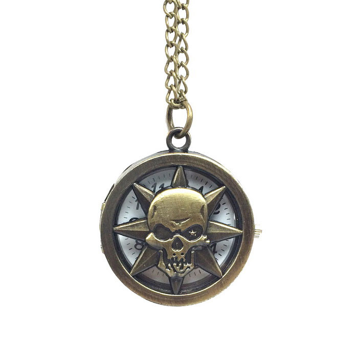 Skull Style Zinc Alloy Quartz Necklace Pocket Watch - Bronze for sale in Bitcoin, Litecoin, Ethereum, Bitcoin Cash with the best price and Free Shipping on Gipsybee.com