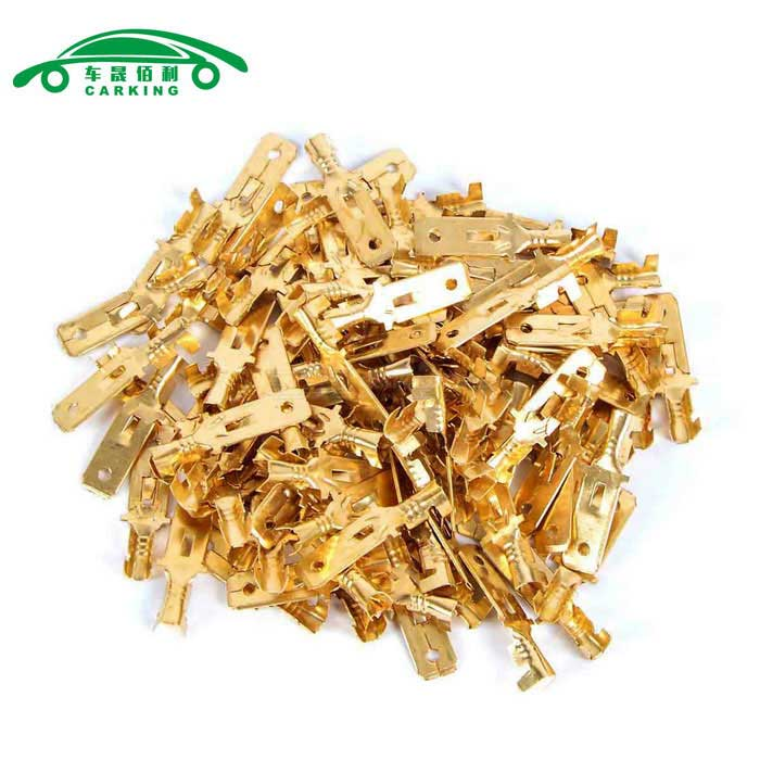 Buy Car 6mm Speaker Spade Male Terminal Cable Connectors - Gold (100PCS) with Litecoins with Free Shipping on Gipsybee.com